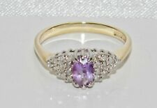 9ct Gold Amethyst & Diamond Ladies Cluster Ring size L