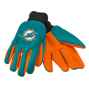NFL Miami Dolphins Colored Palm Utility Gloves Teal w/ Orange Palm by FOCO