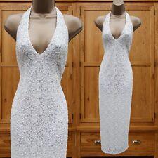 UK 12 KAREN MILLEN Ivory Lace Heavy Beaded Wedding Bridal Gown Long Maxi Dress