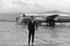T679 Original 35mm photo NEGATIVE 1950s 60s? Japan Cathay Pacific airplane man