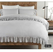 Brand New w/ tags Pottery Barn Tencel Ruffle Duvet Cover Gray Full/Queen
