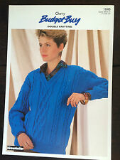 "Chevy Knitting Pattern: Ladies V Neck Cabled Sweater, DK, 28-40"", 1046"