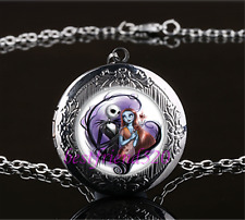 Jack and sally Photo Cabochon Glass Gun Black Locket Pendant Necklace