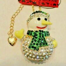 DK Green & White CRYSTAL SNOWMAN Betsey Johnson Fashion Jewelry Pendant Brooch