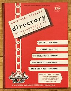 Universal Streets Directory of Melbourne 1956 Olympic Edition Limited Reprint HC