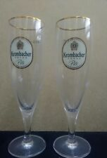 2 x Krombacher German Pils Fluted Half Pint Glasses New
