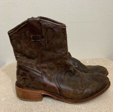 TAOS Brown Leather Embroidered PRIVILEGE Boots 7-7.5 Western