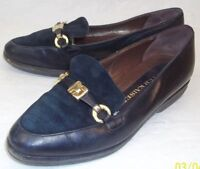 Peter Kaiser Womens US 5.5 M Black Leather Suede Slip On Casual Work Shoes