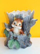 Vintage Norcrest Planter CHIPMUNK IN TREE Beautifully Painted Excellent Conditio