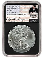 2018 1oz Silver American Eagle NGC MS69 ER Liberty Coin Act Black Core