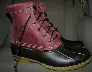 Men's L.L.BEAN Duck Boots (Small Batch Limited Edition) Maroon /Brown (Size 10)