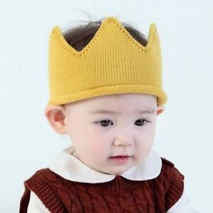 Woolen Yarn Baby Boys Girls Crown Knit Headband Hat hair accessories beanie pink