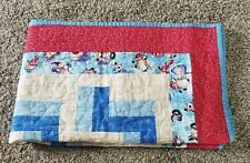 Holiday quilt throw lap Blanket Snowman  50x60