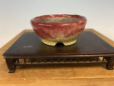 Shohin Size Bonsai Tree Pot Made By Bunzan 3 3/8� Red And Yellow Glaze