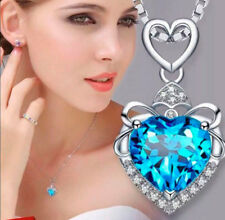 925 Sterling Silver Heart Pendant Necklace Blue Gift for MOM Gift for Her
