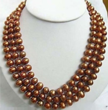 "Fashionable 3Rows 8mm Brown Round Shell Pearl Necklace 18""-20"""