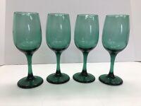 "Libbey Teal Juniper Green Premiere Wine Glasses 7 1/8""  8 oz"