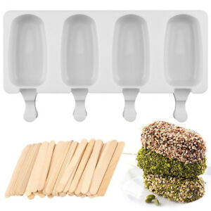 Big Size Ice Cream Silicone Mold DIY Juice Popsicle Maker With 24 Ps Wood Sticks