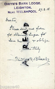 WW1 Home Front Request for Sugar Forden District Food Controller 1918 Welshpool