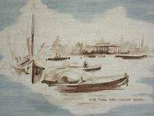 Lee Jofa ON LONDONS' RIVER BLUE Toile House of Parliament Drapery Fabric BTY