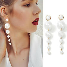Lady Elegant Big Simulated Pearl Long Tassel Statement Dangle Earring Fashion u