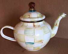 New Mackenzie-Childs Parchment Check Enamel Teapot