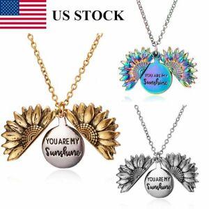 """You Are My Sunshine"" Boho Sunflower Pendant Locket Woman Necklace Jewelry Gifts"