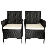 2PC Patio Rattan Wicker Chair Sofa Patio Garden Furniture w/Cushion Outdoor