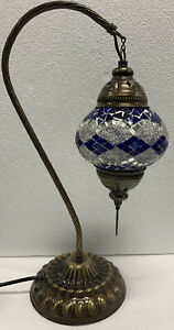 Authentic Turkish Moroccan Mosaic Colorful Swan  Neck Table Bedside Lamp #2