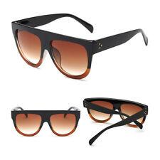 Oversized Flat Top Shadow Shield DESIGNER Celebrity Men Ladies Women Sunglasses Black Brown