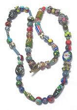 """VENETIAN GLASS BEAD NECKLACE CLOISONNE PLUS OTHERS  26"""" HAND STRUNG STYLE 3"""