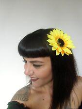 Pince clip cheveux fleur tournesol sunflower coiffure pin-up rétro rockabilly
