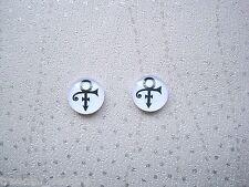 PRINCE LOVE SYMBOL BLACK WHITE DOMED Glass Stud Earrings SP Gift Bag 12mm