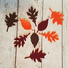 9 large Leaf Leaves Autumn shades die cut in felt ~ Halloween, wreaths, Crafting