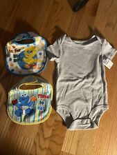 Infant First Moments Gray One Pc 12 Months & Two Sesame Street Bibs New Lot of 3