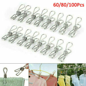 200Pcs Stainless Steel Washing Line Clothes Pegs Hang Pins Metal Clips Clamps UK