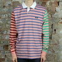 Stussy Jonah Stripe Rugby Long Sleeve T-Shirt Top New in Pink in size S,M,L