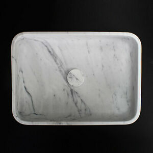 Carrara Extra Marble Rectangular Honed Stone Sink 305