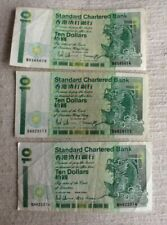 3x 10 HKD Standard Chartered Colonial notes