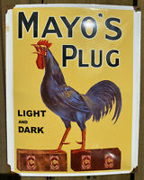 VINTAGE MAYO's PLUG TOBACCO PORCELAIN SIGN USA PIPE ROOSTER OIL LUBE GAS STATION