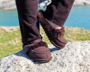 Women's Luxury Genuine Sheepskin Warm Lined Mule Slippers Brown Size UK 4 To 8