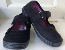 Next Girls Black Flower Plimsoles Shoes 🌺 Size 9 Child - VGC