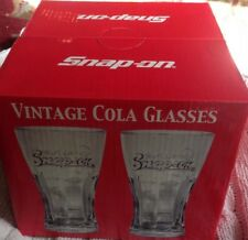 Snap On Tools Vintage Collectable Soda Glass Set of 4 with Box of Soda Straws