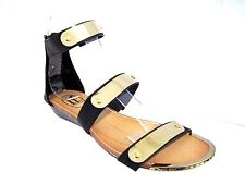 IF CARRINI Black Faux Leather Goldtone Accents Ankle Strap Wedge Sandals Size 7
