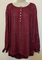 NWT Max Jeans 2X Tunic Top Red Plaid Long Sleeve Button Up Scoop Neck Shirt