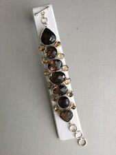 Smokey Topaz Quartz And Citrine Sterling 925 Link Bracelet EUC