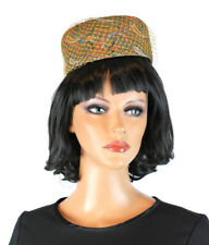 Vintage Pillbox Hat 60s Tulle Netting Gold Blue Red Paisley Metallic Sparkly OS