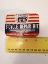 """*RARE CANADIAN """"DOMINION ROYAL BICYCLE  REPAIR  KIT"""" METAL CONTAINER - EMPTY"""