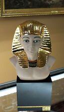 Nadal Porcelain King Tut Bust on Pedestal Egyptian Figure 24K Gold Accent