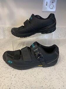 Giro Terradura Womens 8.5 Mountain Bike Shoes Black Click Strap Hook & Loop 40.5